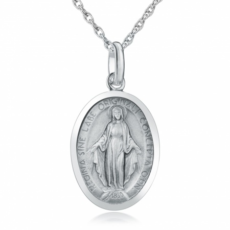 Miraculous Medal Necklace, Sterling Silver, Antique Finish