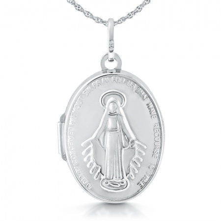 Miraculous Medal Locket, Sterling Silver