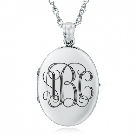 Monogram Locket, Personalised, 925 Sterling Silver
