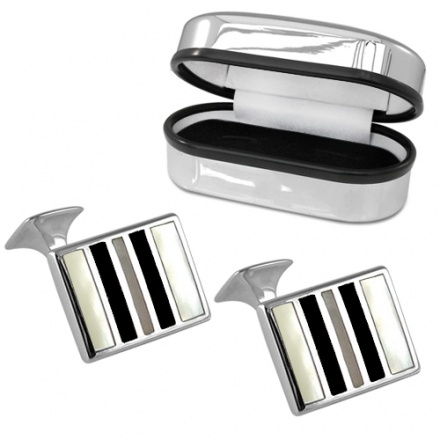 Mother of Pearl & Onyx Striped Sterling Silver Cufflinks (can be personalised)