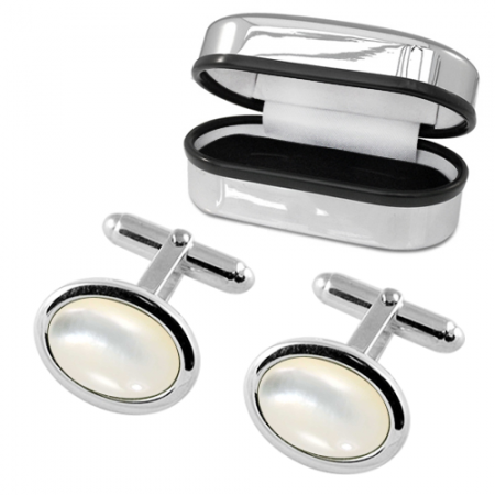 Oval Mother of Pearl & Sterling Silver Cufflinks, Personalised