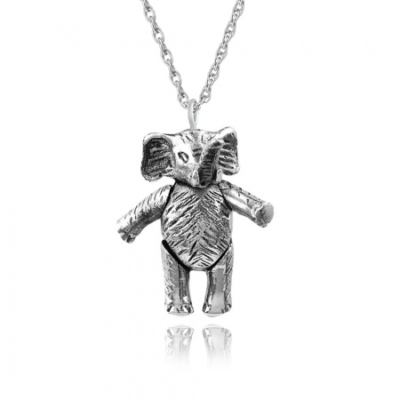 Moveable Elephant Necklace, 925 Sterling Silver