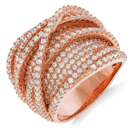 Multi Band Crossover Rose Gold Ladies Ring - Sizes J - Q