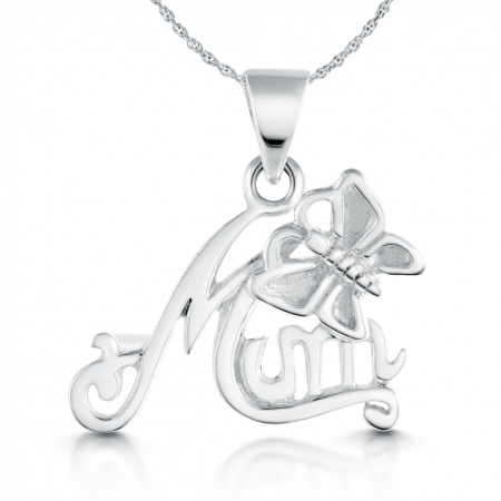Mum with Butterfly Necklace, Sterling Silver
