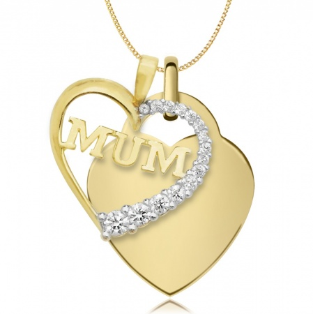 Mum Double Heart Necklace, Personalised, 9ct Gold, Yellow