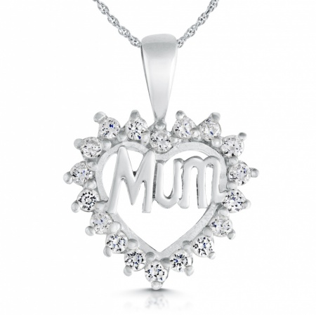 Mum Heart Necklace, Cubic Zirconia & Sterling Silver