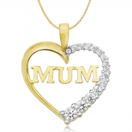 Mum Heart Shaped Necklace, 9ct Gold, Yellow