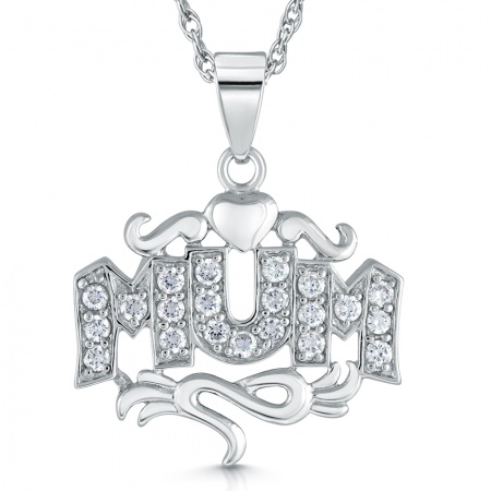 Mum Necklace, Sterling Silver & Cubic Zirconia, Scroll & Heart