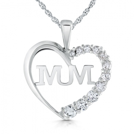 Mum Heart Necklace, Sterling Silver & Cubic Zirconia
