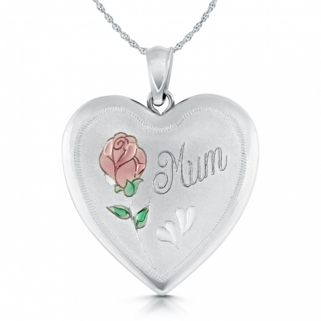 Mum Locket with Colour Rose, Personalised, Sterling Silver