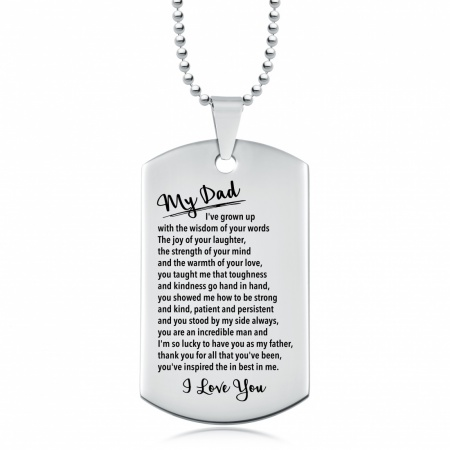 My Dad, Growing Up Dog Tag, Personalised, So Lucky, Fathers Day, Necklace