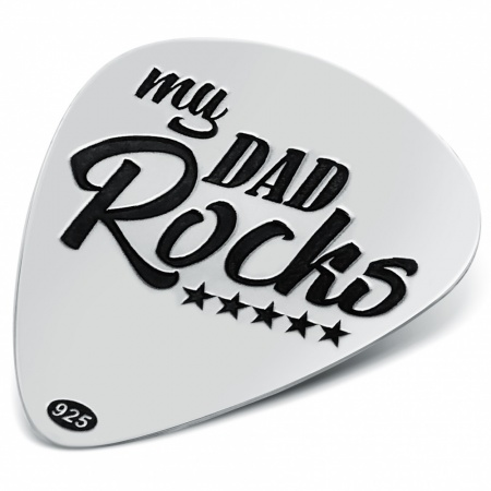 My Dad Rocks Plectrum, Personalised, Sterling Silver, Fathers Day