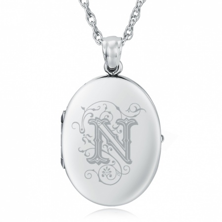 Initial/Letter N Sterling Silver 2 Photo Locket (can be personalised)