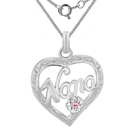 Nana Necklace, 925 Sterling Silver, with Pink Cubic Zirconia