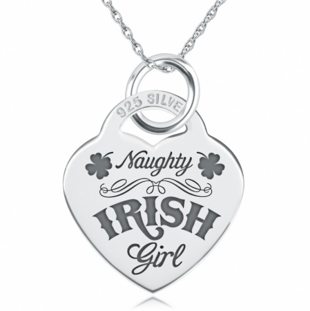 Naughty Irish Girl Necklace, Personalised, Sterling Silver