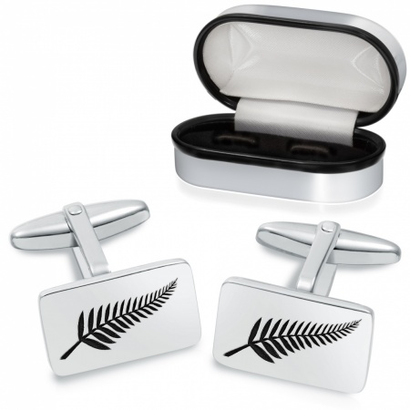 New Zealand Fern Cufflinks, Personalised, Sterling Silver, Flag
