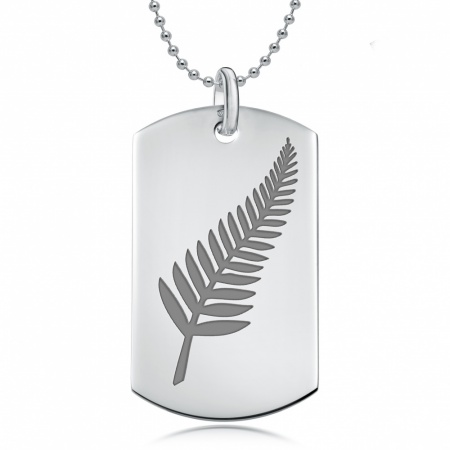 New Zealand Fern Dog Tag, Personalised / Engraved, 925 Sterling Silver