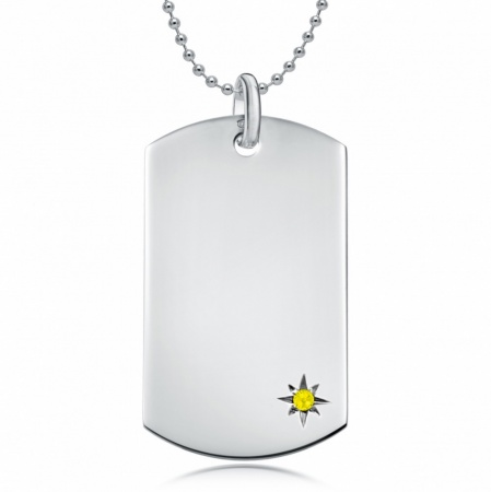 November Birthstone Dog Tag Necklace, Personalised Engraving, Sterling Silver, Citrine