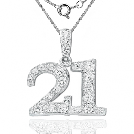 21st Birthday Necklace, Cubic Zirconia Encrusted Number 21