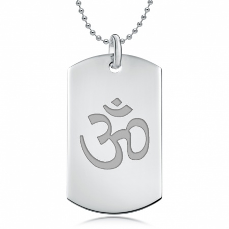 Om (Aum) Sterling Silver Dog Tag Necklace (can be personalised)