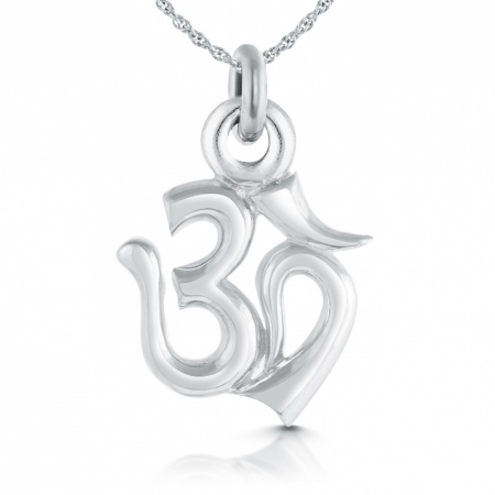 Om/Aum Symbol Necklace, Sterling Silver