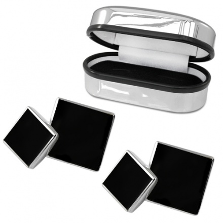 Double Sided Onyx & Sterling Silver Cufflinks (can be personalised)