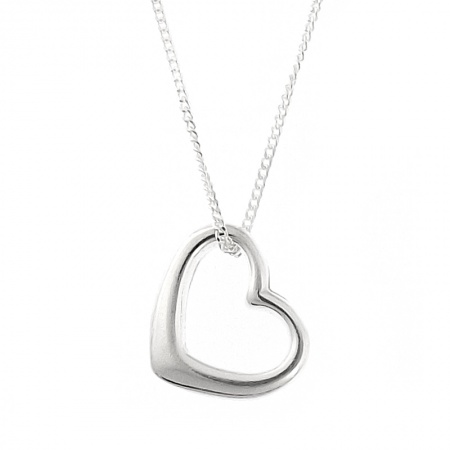 Open Heart Necklace, Sterling Silver