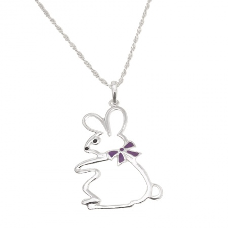 Children's Bunny Rabbit Necklace, Sterling Silver