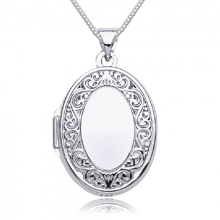 Scroll Border White Gold Locket, Personalised / Engraved