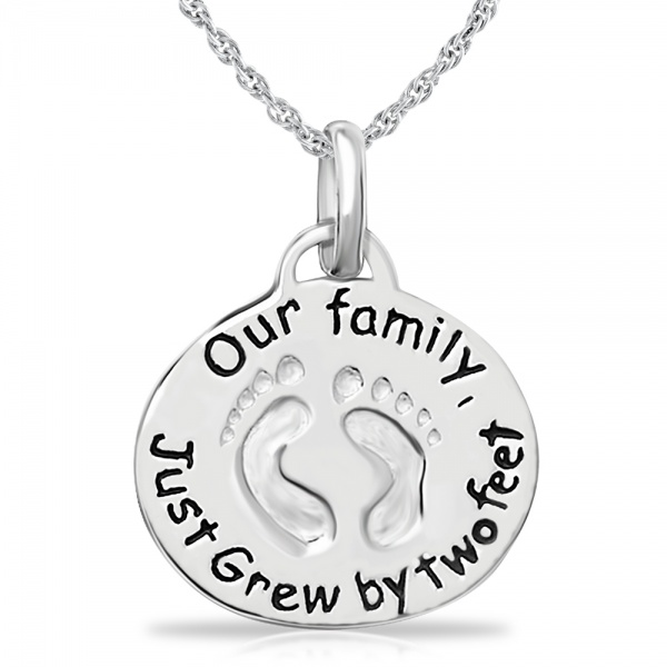 Our Family Just Grew By Two Feet Sterling Silver Necklace (can be personalised)