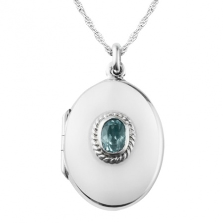 Blue Topaz Locket, Personalised, Sterling Silver