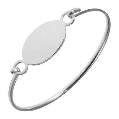 Ladies Oval ID Plate Bangle, 925 Sterling Silver (can be personalised)