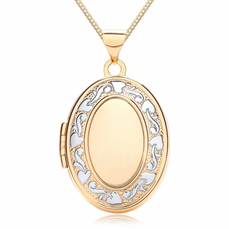Oval Family Album Locket, 9ct Yellow & White Gold, Personalised