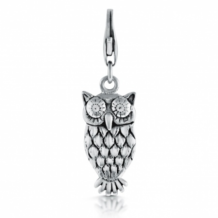 Owl Charm, Sterling Silver, Clip On