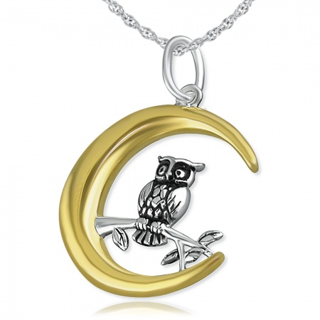 Owl in the Moon Necklace, 925 Sterling Silver with Gold Plating