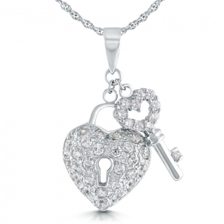 Padlock and Key Necklace, Cubic Zirconia & Sterling Silver