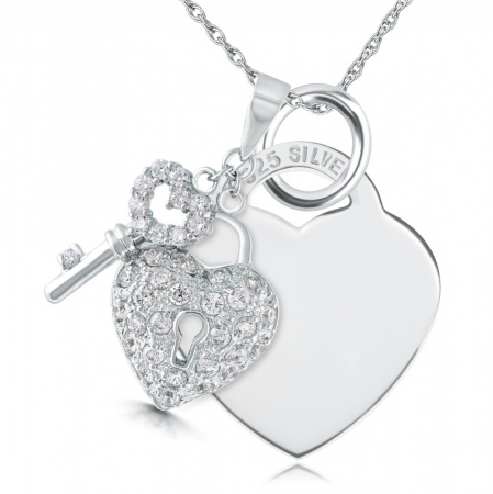 Cubic Zirconia Padlock and Key Sterling Silver Heart Necklace (can be personalised)