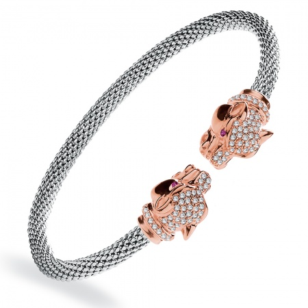 Panthers Head Bangle, Popcorn, Rose Gold & Sterling Silver
