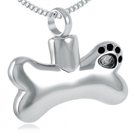 Paw Print Bone Ashes Necklace, Personalised, Stainless Steel