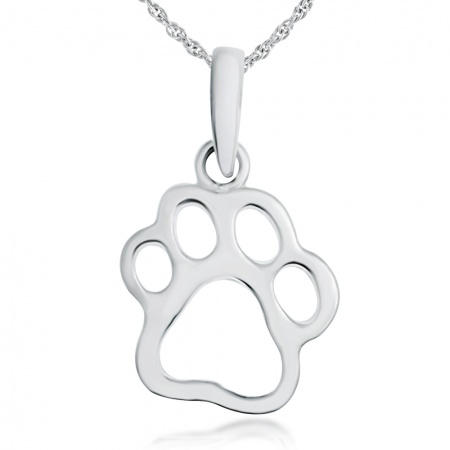 Paw Print Necklace, Sterling Silver