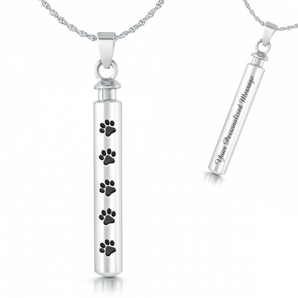 Personalised Paw Prints Ashes Cremation Necklace, 925 Sterling Silver