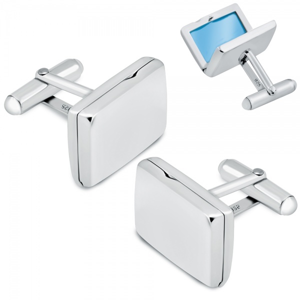 Photo Frame Locket Cufflinks, Personalised / Engraved Rectangular, 925 Sterling Silver