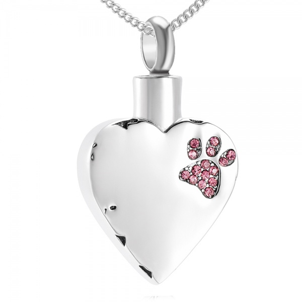 Pink Crystal Paw Print Cremation Ashes Necklace, with Personalisation