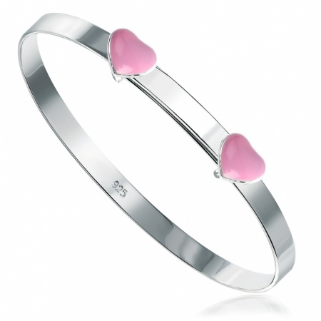 Pink Hearts Babies Bangle, Sterling Silver (Engraving Available)