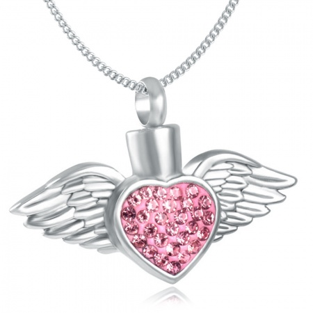 Winged Heart Pink Ashes Necklace, Personalised, Cubic Zirconia