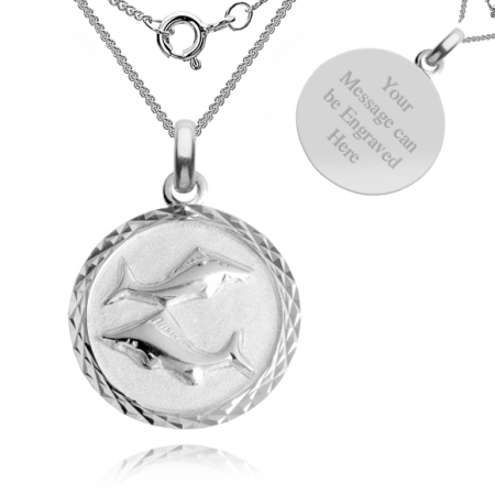 Pisces, Zodiac Necklace, Sterling Silver, Personalised