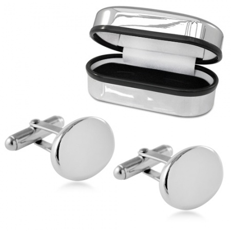 Oval Plain Cufflinks Sterling Silver Plated (can be personalised)