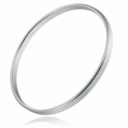 Ladies Heavyweight Plain Flat Bangle, Personalised, 925 Sterling Silver