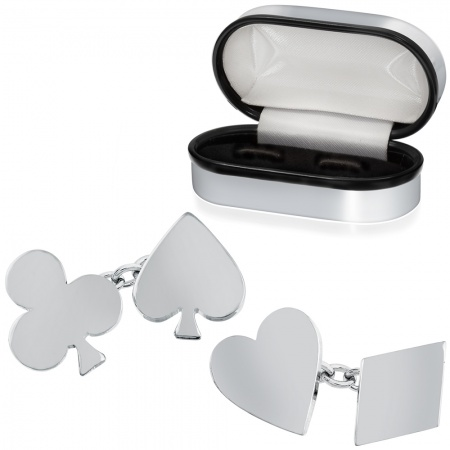 Playing Cards Suits Cufflinks, Personalised, Sterling Silver, Hallmarked