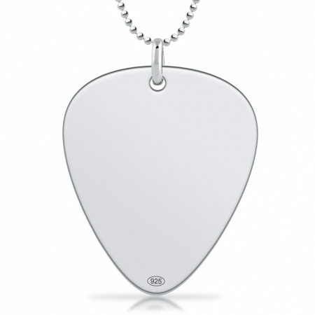 Plectrum Necklace, Personalised / Engraved, 925 Sterling Silver